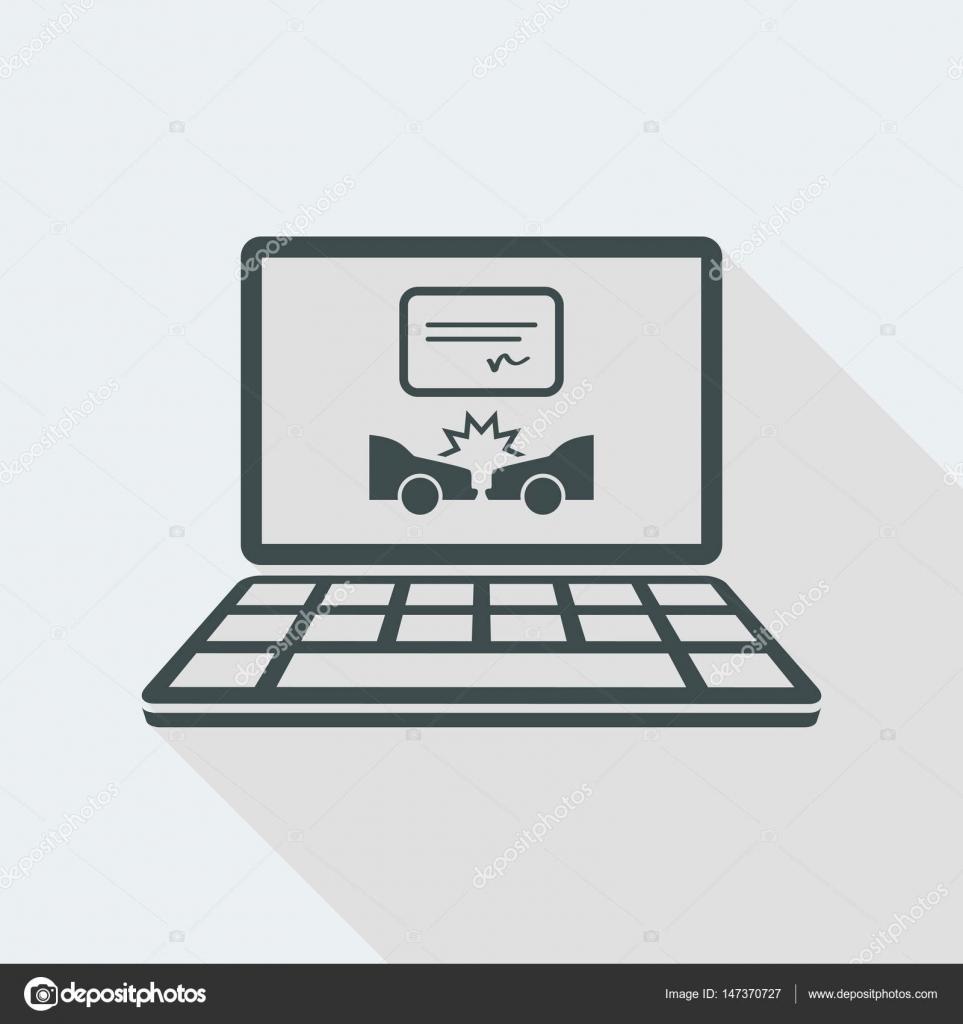 Autounfall dokumentieren online - Vektor Icon für Computer Website ...