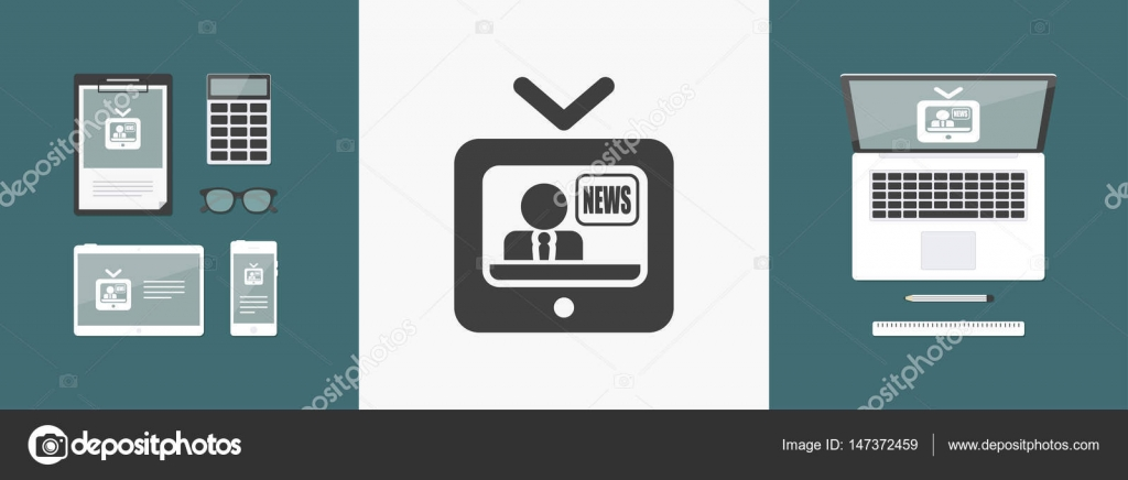 Vector illustration of single isolated tv news icon — Stock Vector