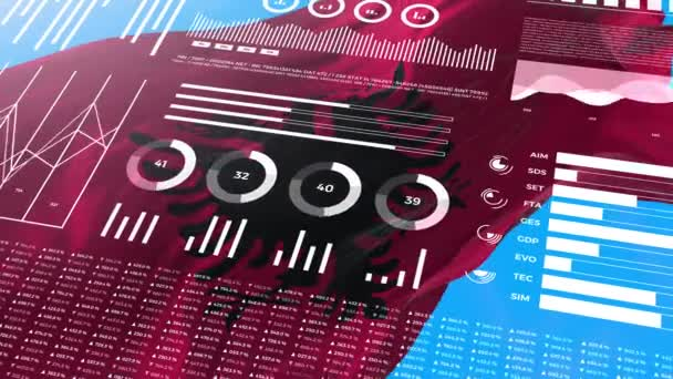 Albania informational analysis reports and financial data, infographics display animation with flag, columns numbers and pie graphics chart. Financial scientific and medical topics.