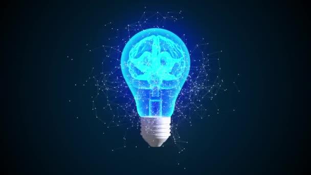 Kreatives Ideenkonzept. Gehirn in Glühbirnen-Animation 3D. Symbol für innovative Lösungen. 4k.