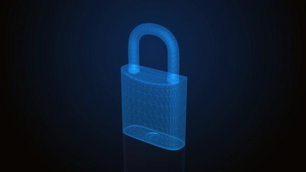3D visací zámek, symbol koncepce bezpečnosti a ochrany. 4k.