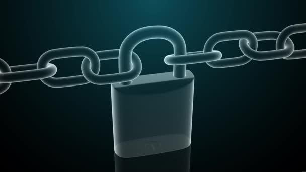 3D visací zámek a řetěz, symbol konceptu zabezpečení a bezpečnosti. 4k.