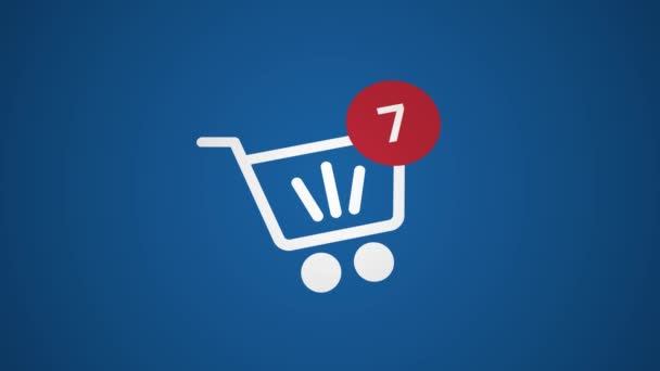 Online shopping, 3D animation 4K. Close-up on web store cart with counter. E-commerce concept.