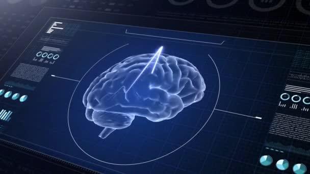 Laboratóriumi műszerfal interfész 4K. Humán Brian tanulmány diagnosztikai számítógépes kijelző.Orvosi UHD absztrakt animáció. Laboratóriumi műszerfal interfész 4K. Humán Brian-vizsgálat