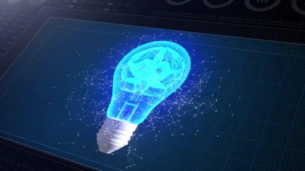 HUD Display Monitor 3D. Kreatives Ideenkonzept. Gehirn in Glühbirnen-Animation 3D. Symbol für innovative Lösungen. 4k.