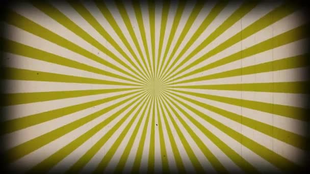 Sunburst vintage rays background. Rotating retro sun ray animation background. Animated shining sunrise with Old vintage film strip effect.