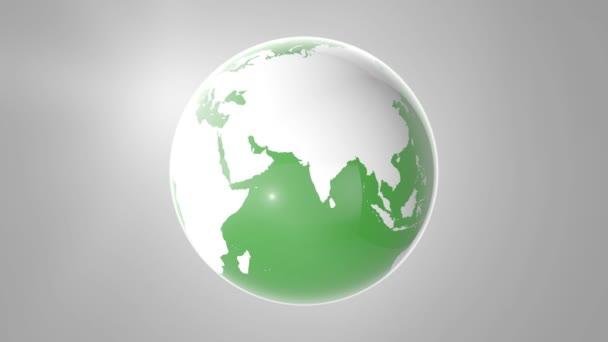 Zöld Föld gömb forgó, végtelen hurok, hurkolható jelenet. 4k.