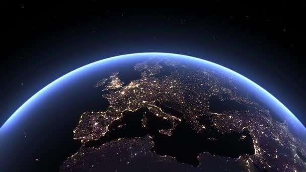 Planeta Země, pohled z vesmíru. 3D zemský glóbus. Rotující animace vesmírem, hvězdami a stratosférou. Rozlišení 4k.