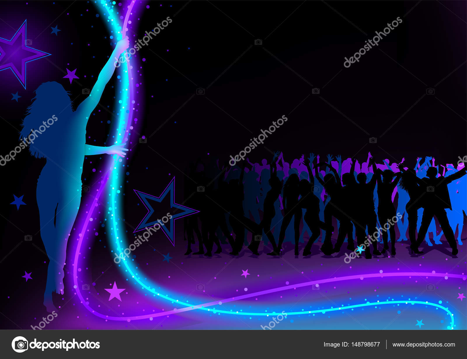 11c28258a Dance Party Background with Young Woman Silhouette Holding Light Chain and  Dancing Crowd - Abstract Illustration, Vector — Vector by ...