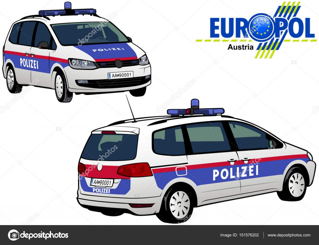 sterreich polizei auto stockvektor dero2010 151576202. Black Bedroom Furniture Sets. Home Design Ideas