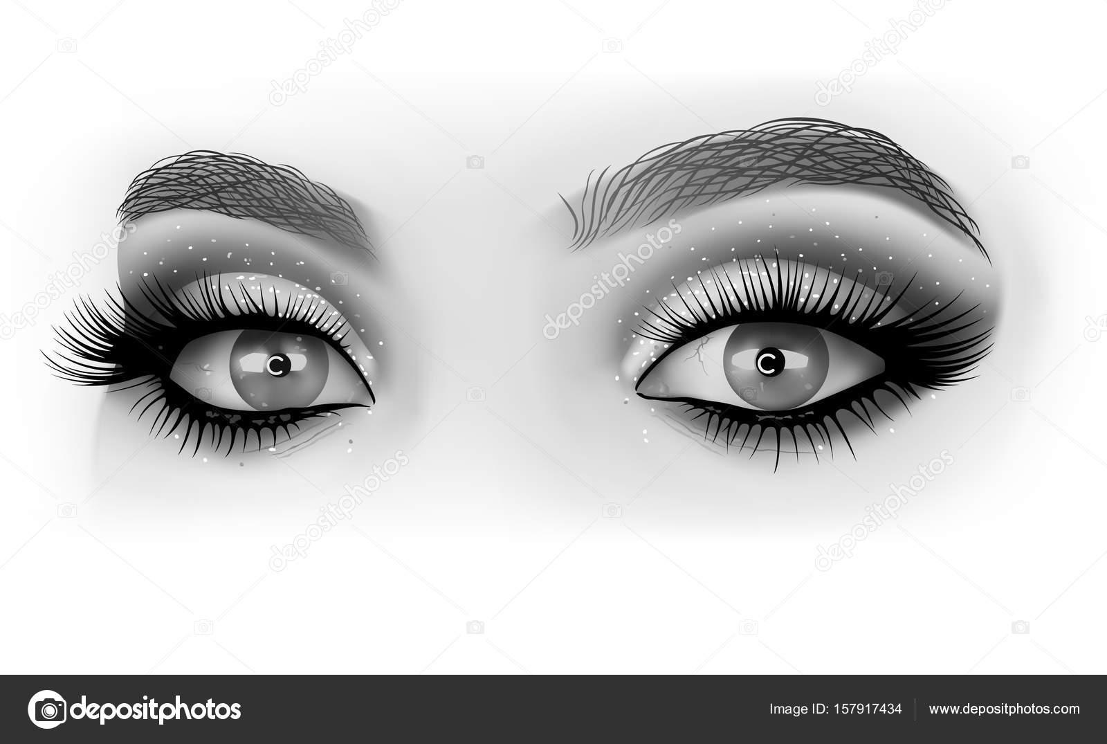 Blanco y negro ojos maquillaje Archivo Imgenes Vectoriales