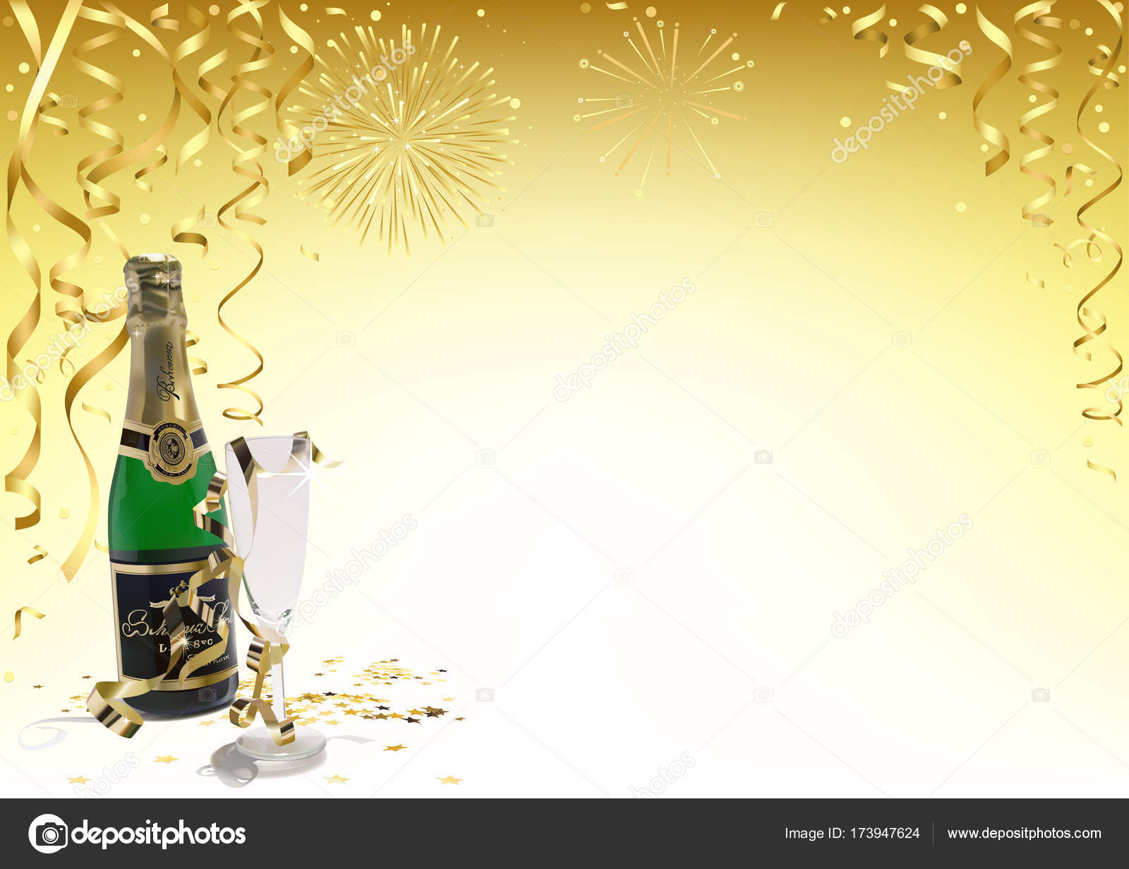 gold happy new year background with champagne stock vector