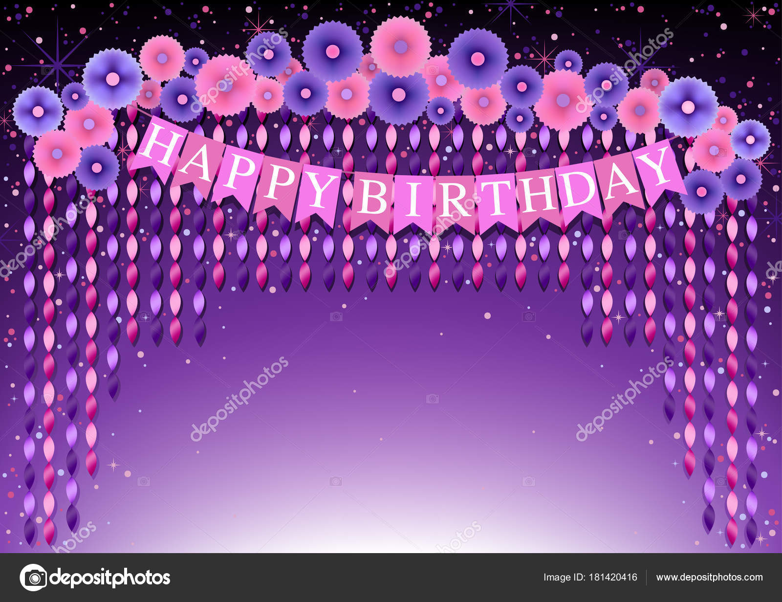 Happy birthday background purple pink paper flowers hanging twisted happy birthday background purple pink paper flowers hanging twisted ribbons stock vector mightylinksfo