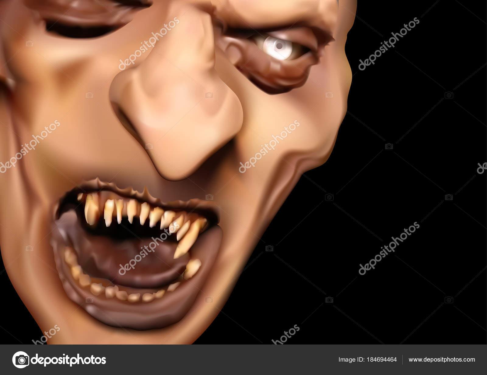 satan face scary teeth horror halloween illustration vector stock vector