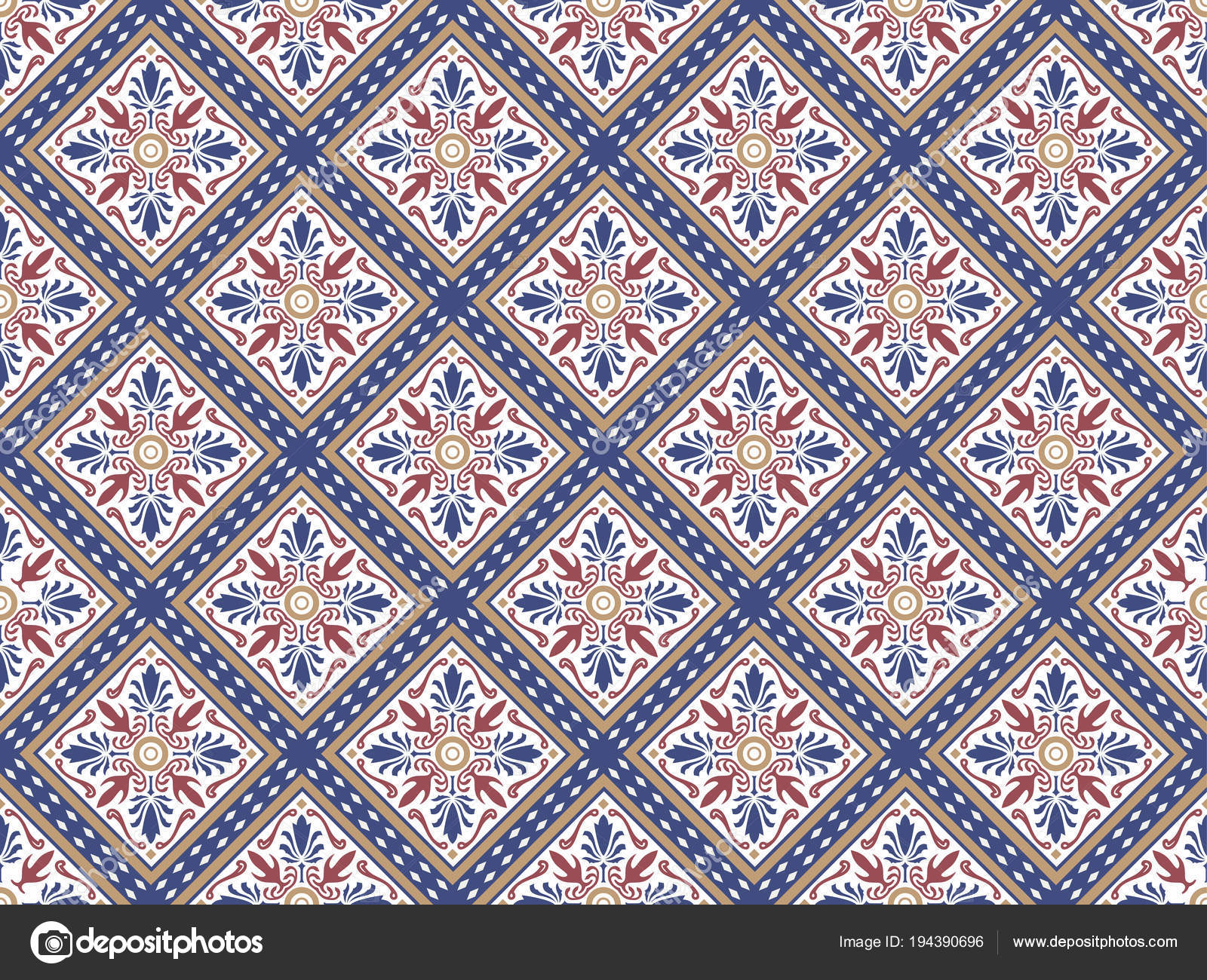 Colorful Decorative Ceramic Seamless Tiles Stock Vector Dero2010