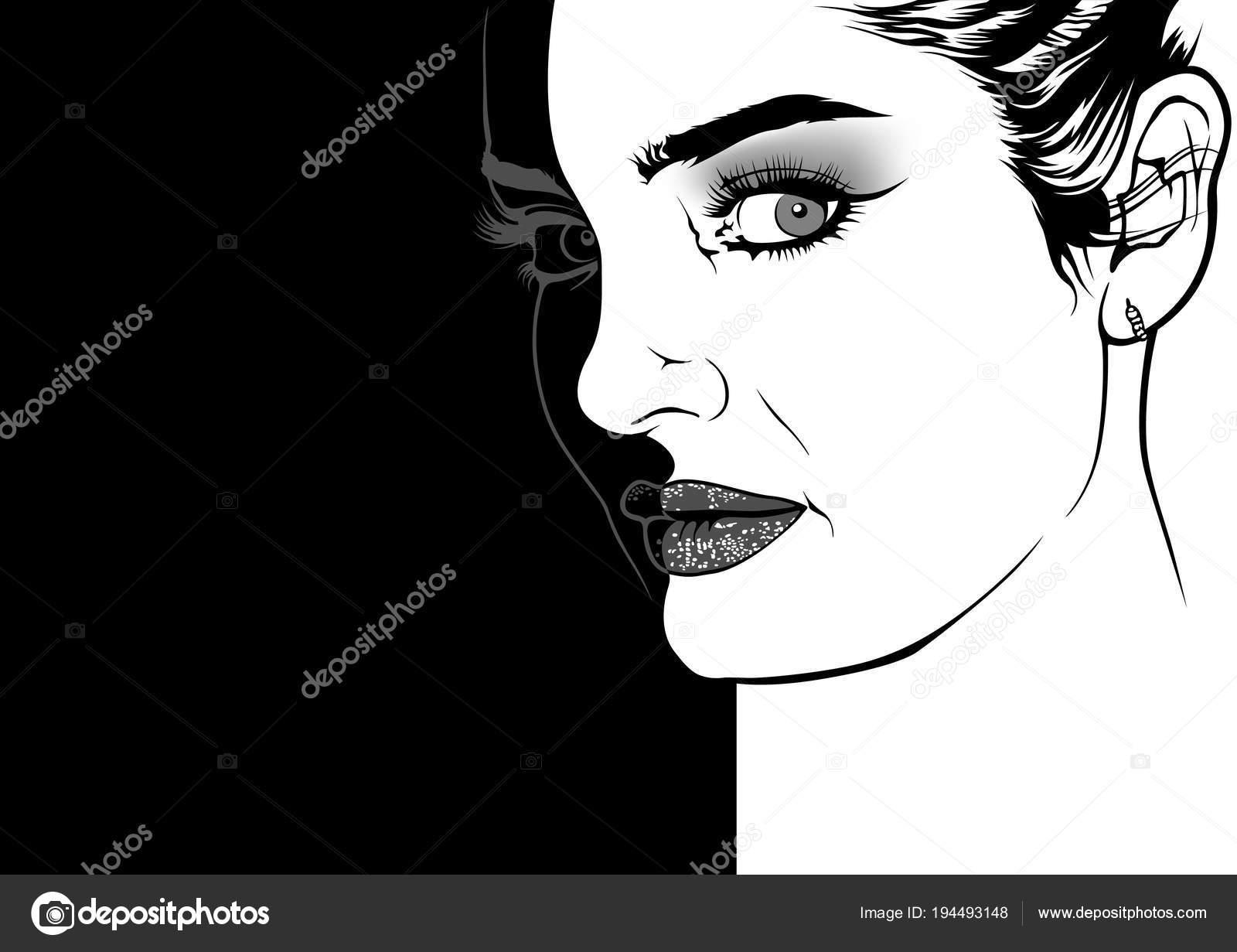 Visage Femme Avec Maquillage Mode Noir Blanc Dessin Illustration Sur