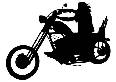 Silhouetted Motorcyclist on Chopper - Black and White Illustration with Rider on Motorcycle, Vector