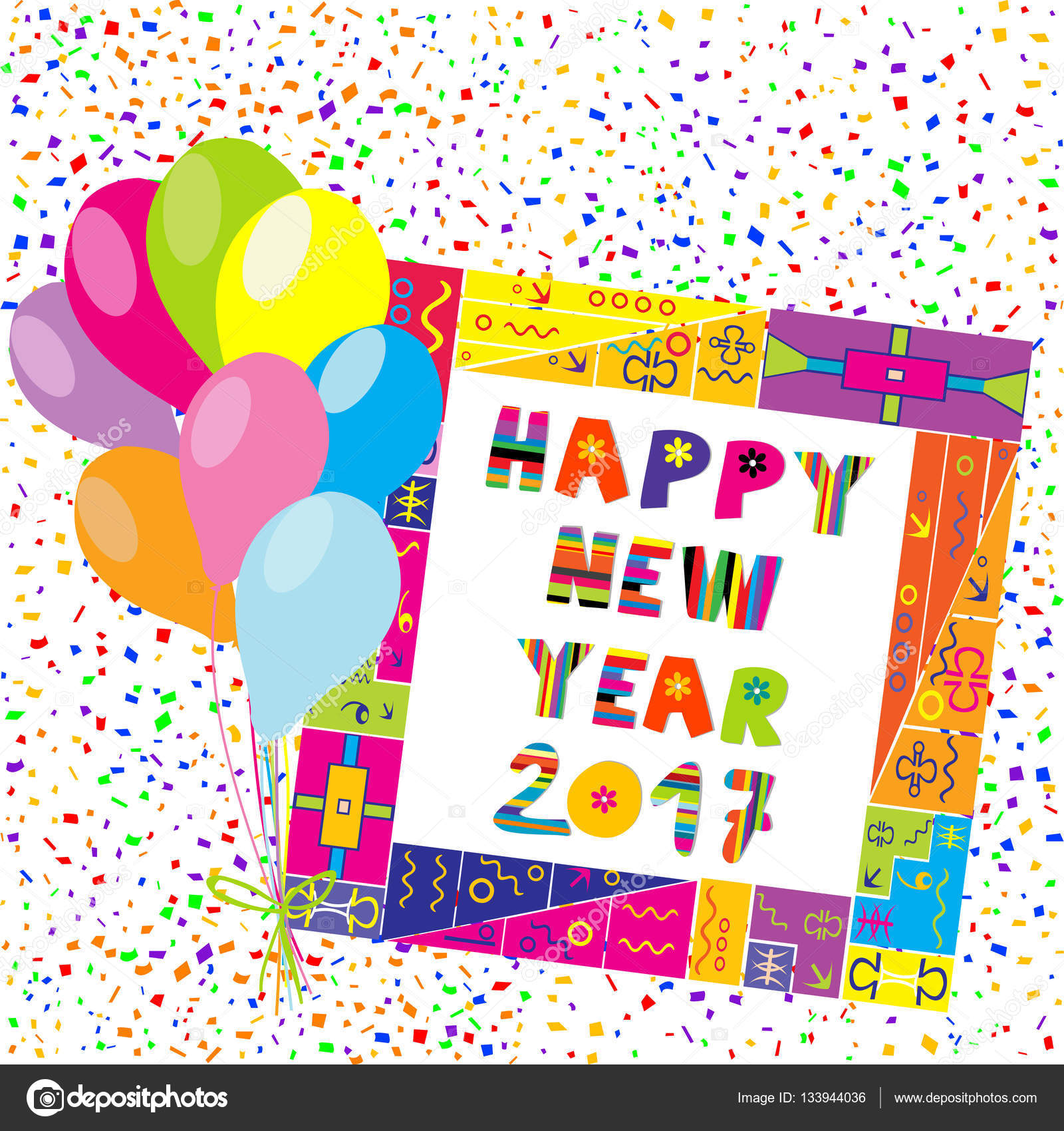 Happy New Year 2017 Frame With Colorful Balloons And Confetti U2014 Stock Vector