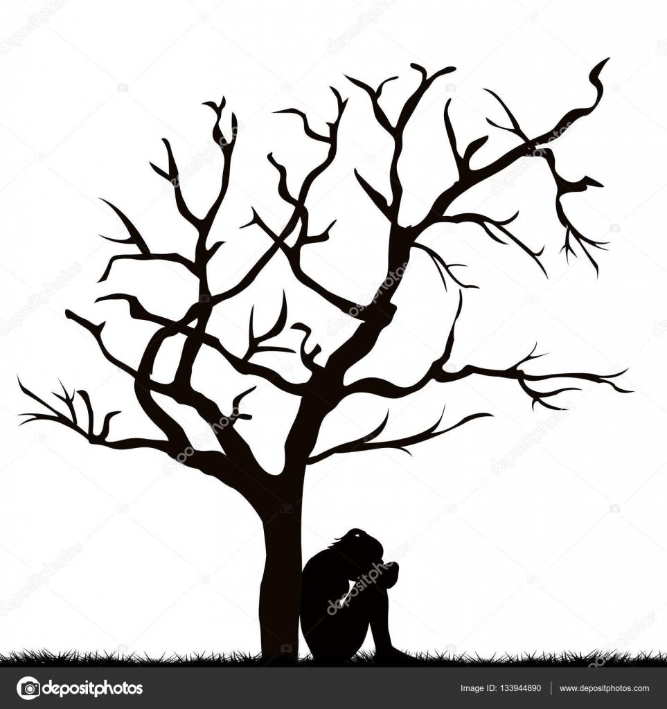 Imágenes Arboles Tristes Silueta De Una Mujer Triste Debajo De Un