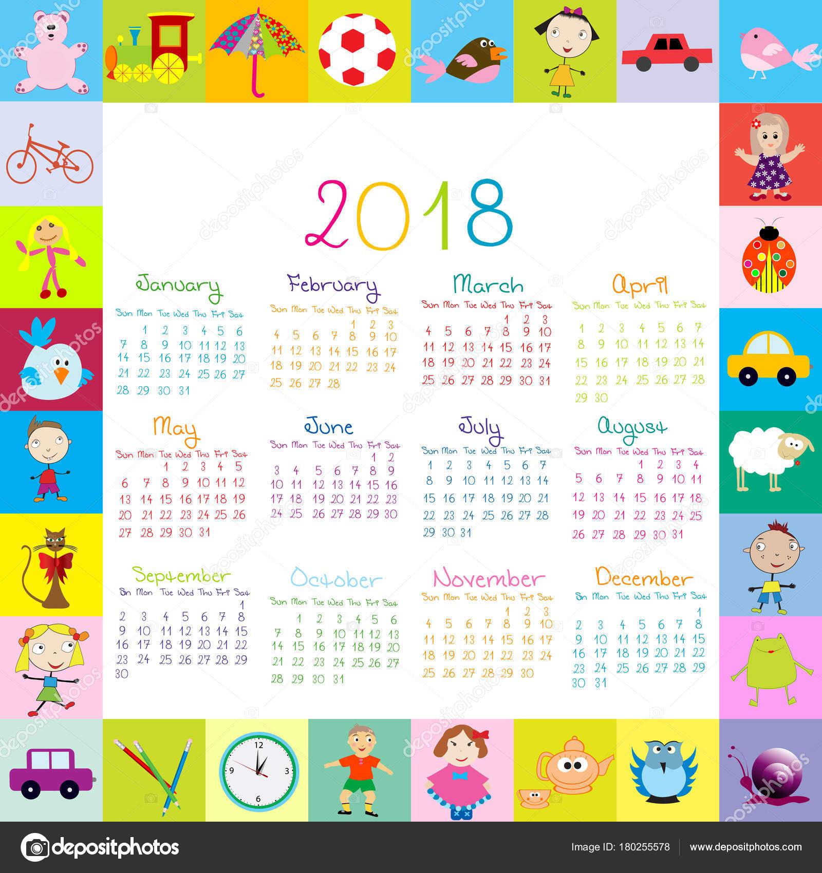 Marco con calendario 2018 los juguetes para niños — Archivo Imágenes ...