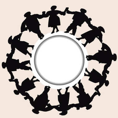 Silhouettes of men and women hold hands together to put up a dan