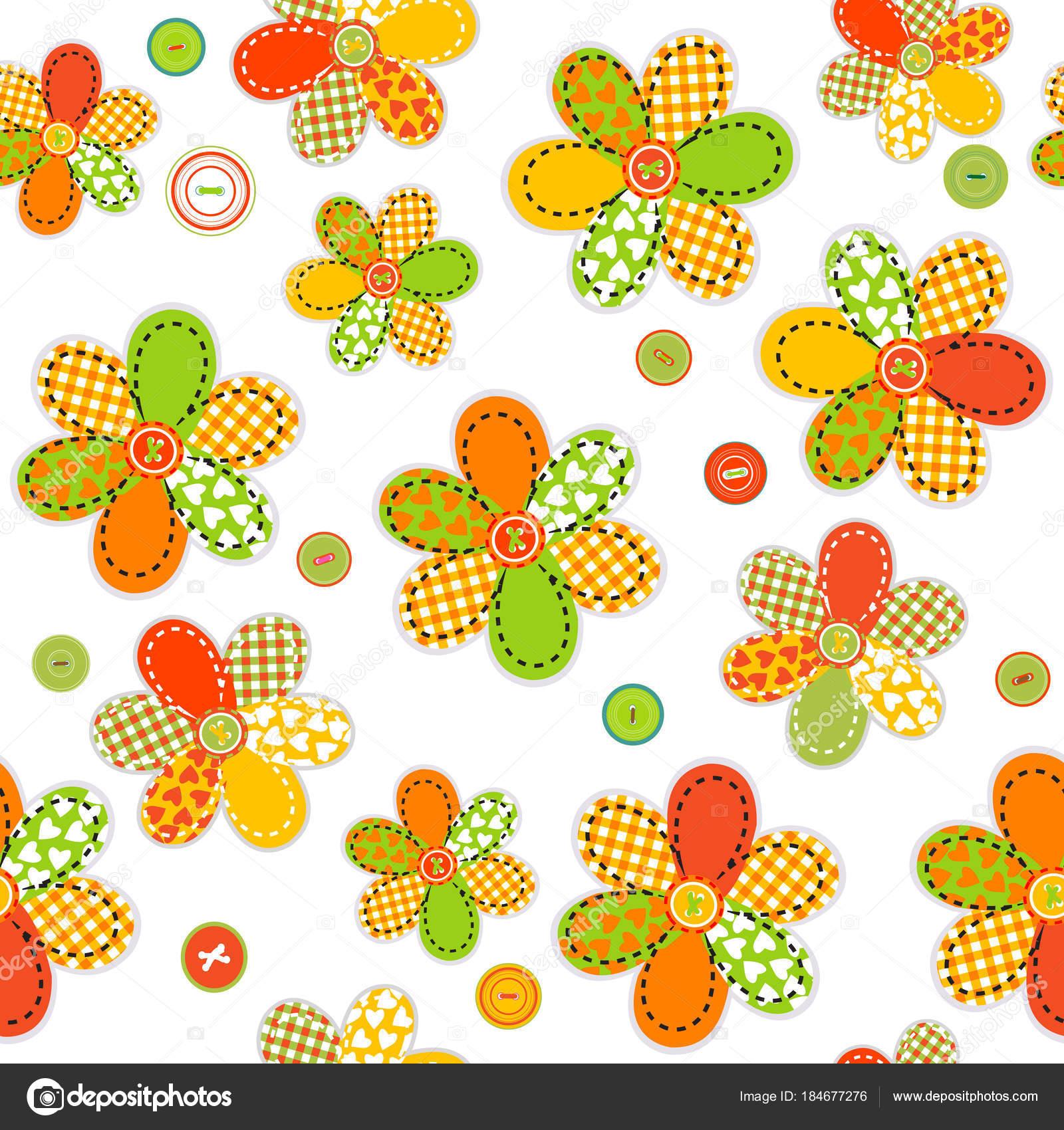 Nahtlose Muster mit Blumen aus Nähen Patches und Tasten ...