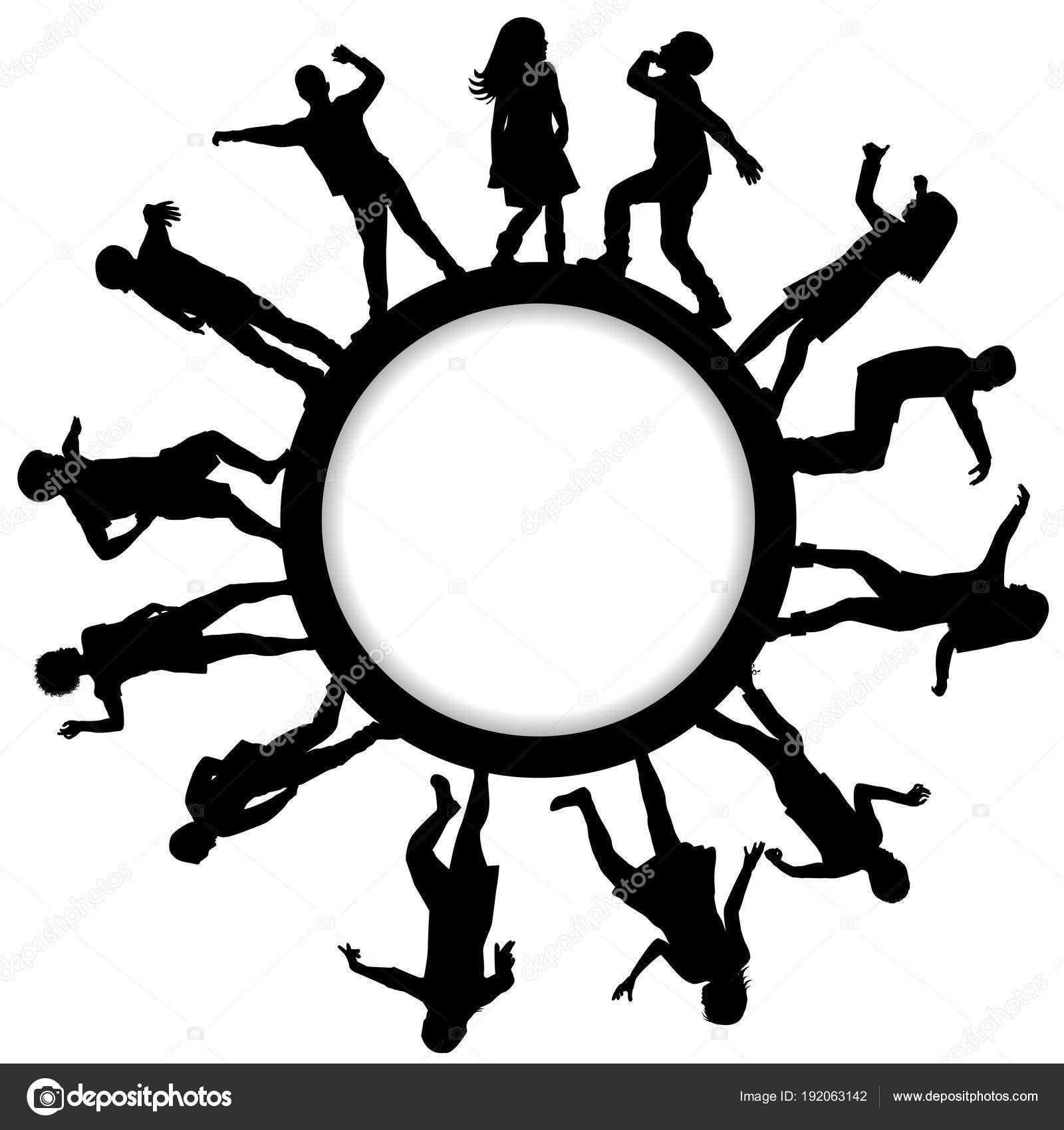Kreis-Rahmen mit Kinder-Silhouetten, tanzen — Stockvektor ...