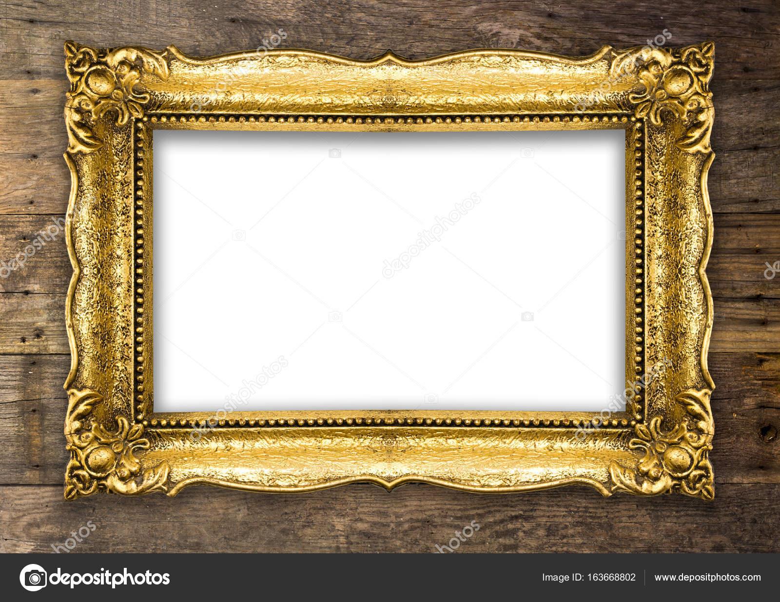 Retro-Altgold-Bilderrahmen auf Holzwand — Stockfoto © adam_r #163668802
