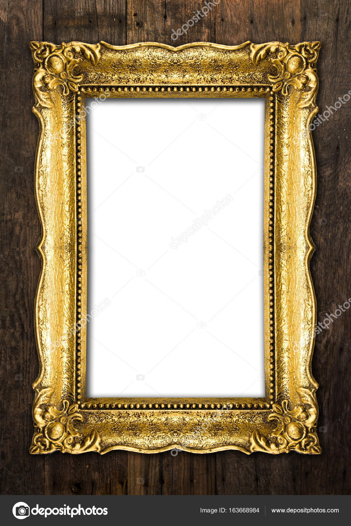 Old Gold Picture Frames on wood background — Stock Photo © adam_r ...