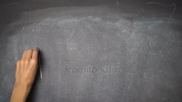 Ruční psaní Menu na černé tabuli