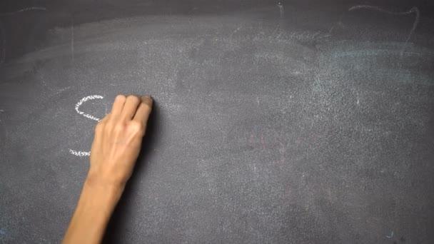 Ruční psaní Školy na černé tabuli