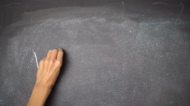 Ruční psaní A proč ne? na černé tabuli