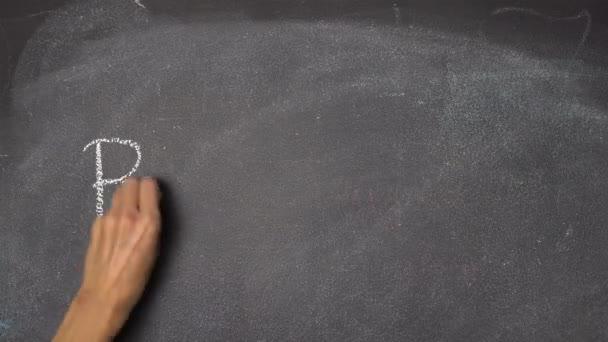 Ruční psaní Break na černé tabuli