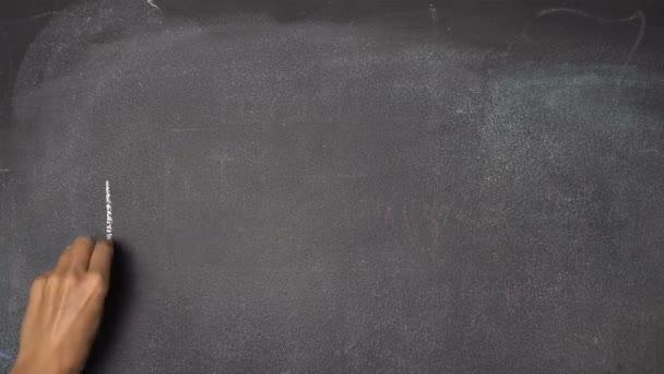 Ruční psaní Holiday na černé tabuli