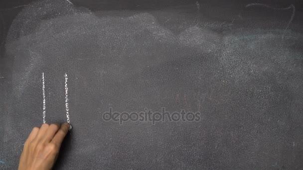 Ruční psaní Hello na černé tabuli