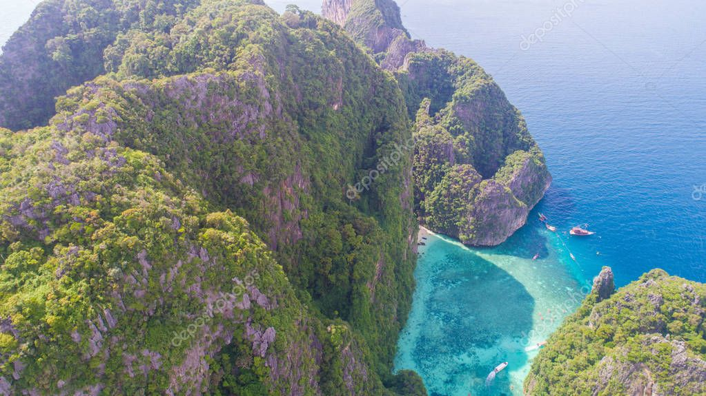 Aerial view of tropical paradise