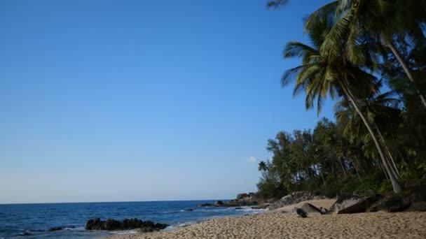 Trópusi Sandy beach, mint tenger és kék nyári ég háttere, / homokos trópusi beach, sziklák és pálmafákkal teli, gyönyörű tengerre és a kék nyári ég háttere