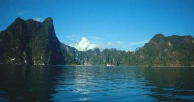 Beautiful view mountain lake and river from boat in Ratchaprapa dam, Khoa Sok National Park, Surat Thani, Thailand