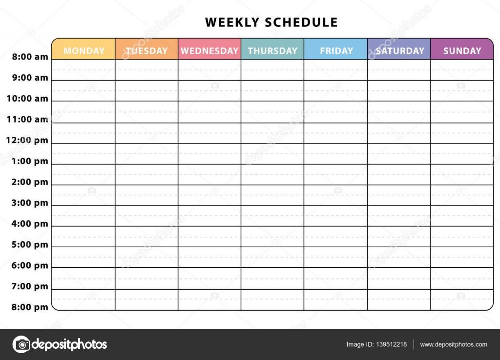 Calendario Semanal.Planificador Semanal Planificador Semanal Calendario Multicolor