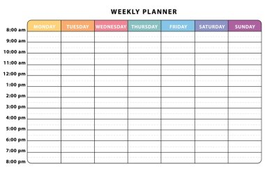 Weekly planner. Colorful schedule. II