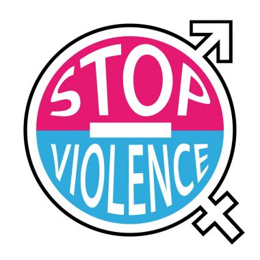 Stop violence symbol. No more violence against men and women. Pink and blue vector icon.