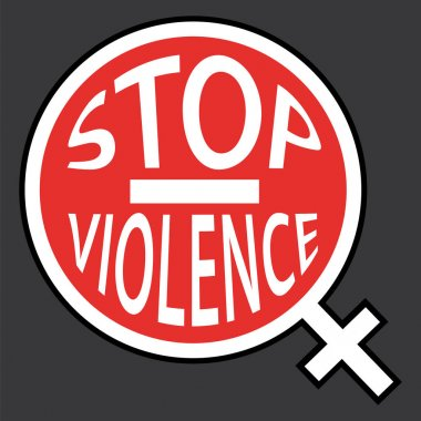Stop violence against women. Not your thing. Red vector icon II grey background.