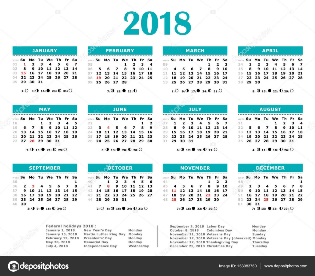 2018 blue green yearly calendar federal holidays moon and numbers of weeks