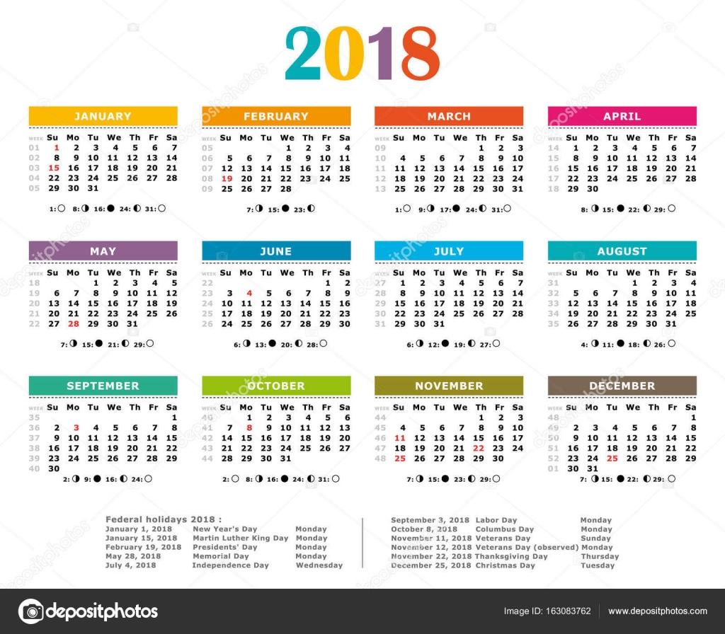 Calendario A Settimane.Calendario Annuale Multicolor 2018 Le Festivita Federale