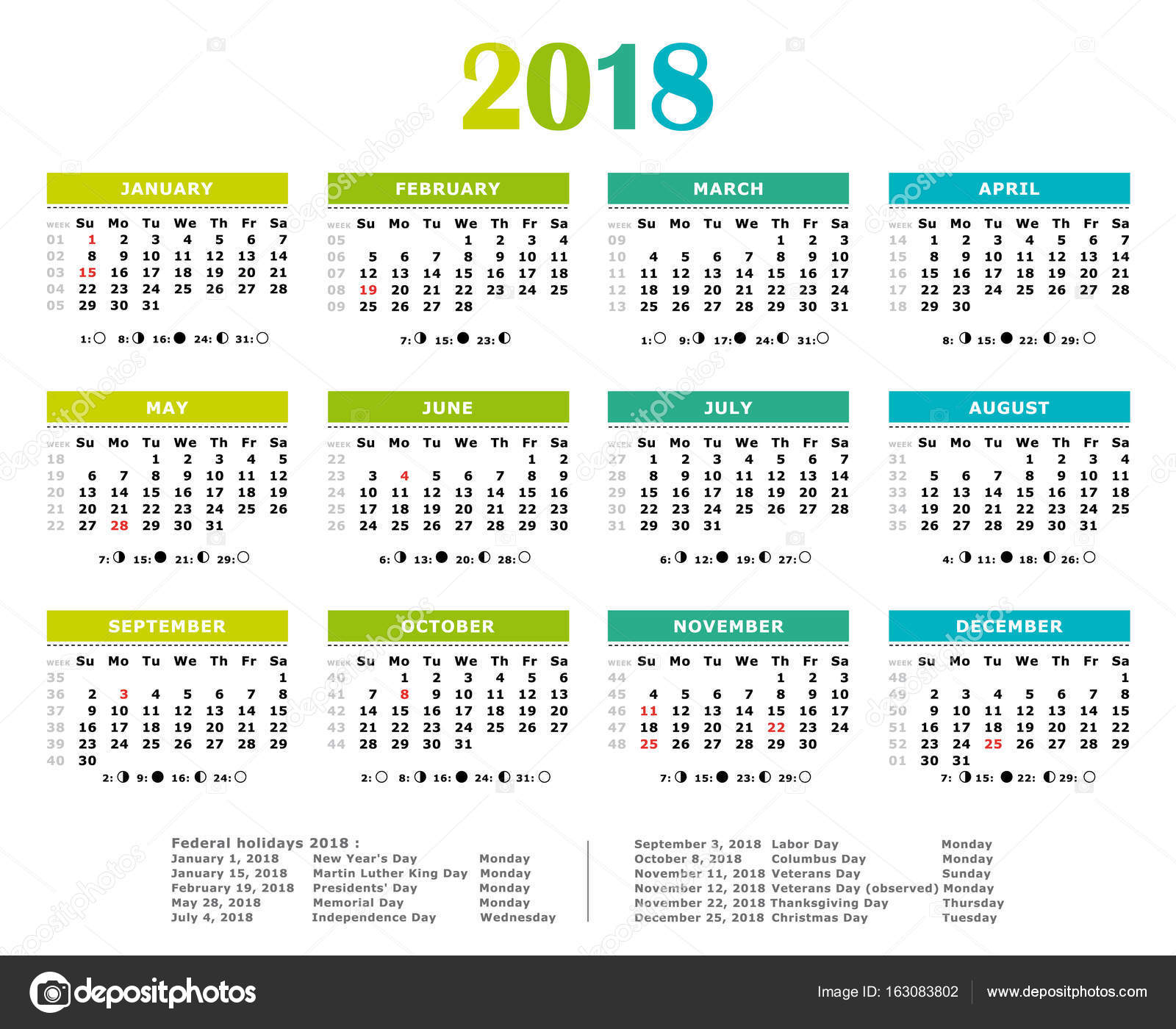 2018 green blue shades yearly calendar federal holidays moon and numbers of weeks