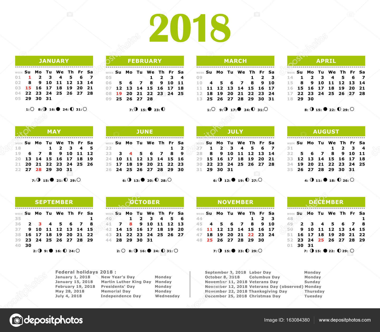 2018 green yearly calendar federal holidays moon and numbers of weeks stock