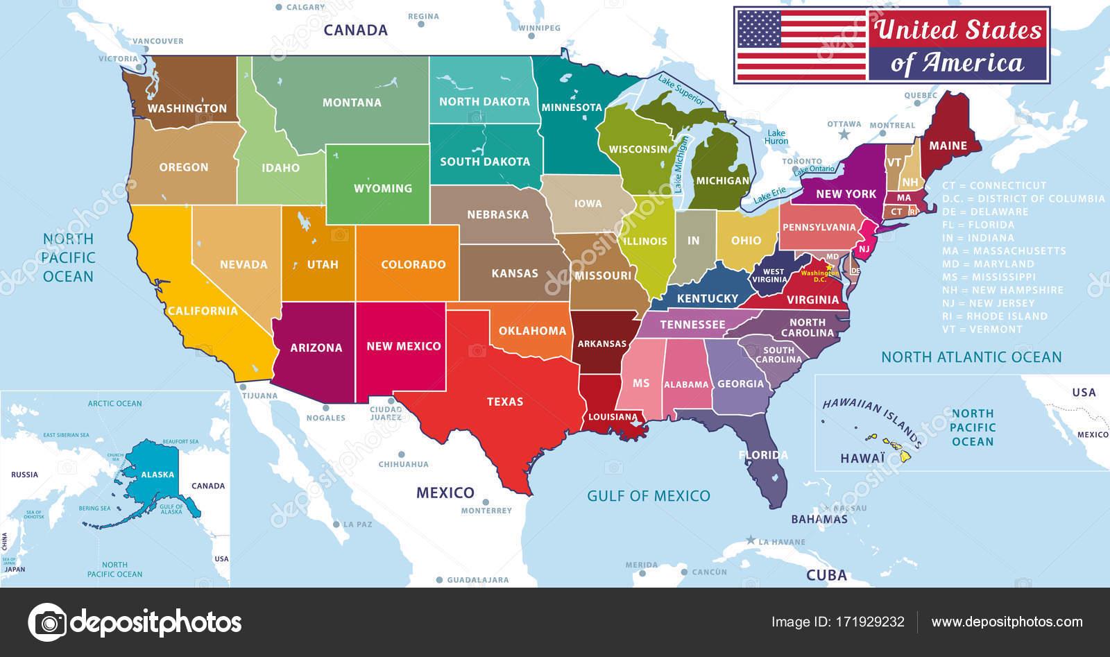 United States of America Beautiful modern graphic USA map 50