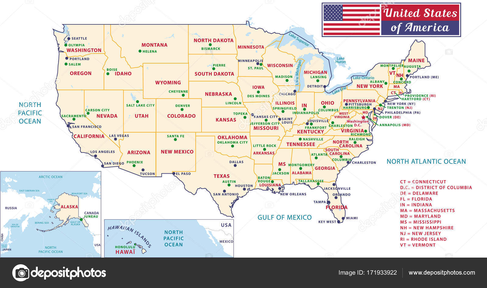 Images: united states map with capitals | States capitals of ...