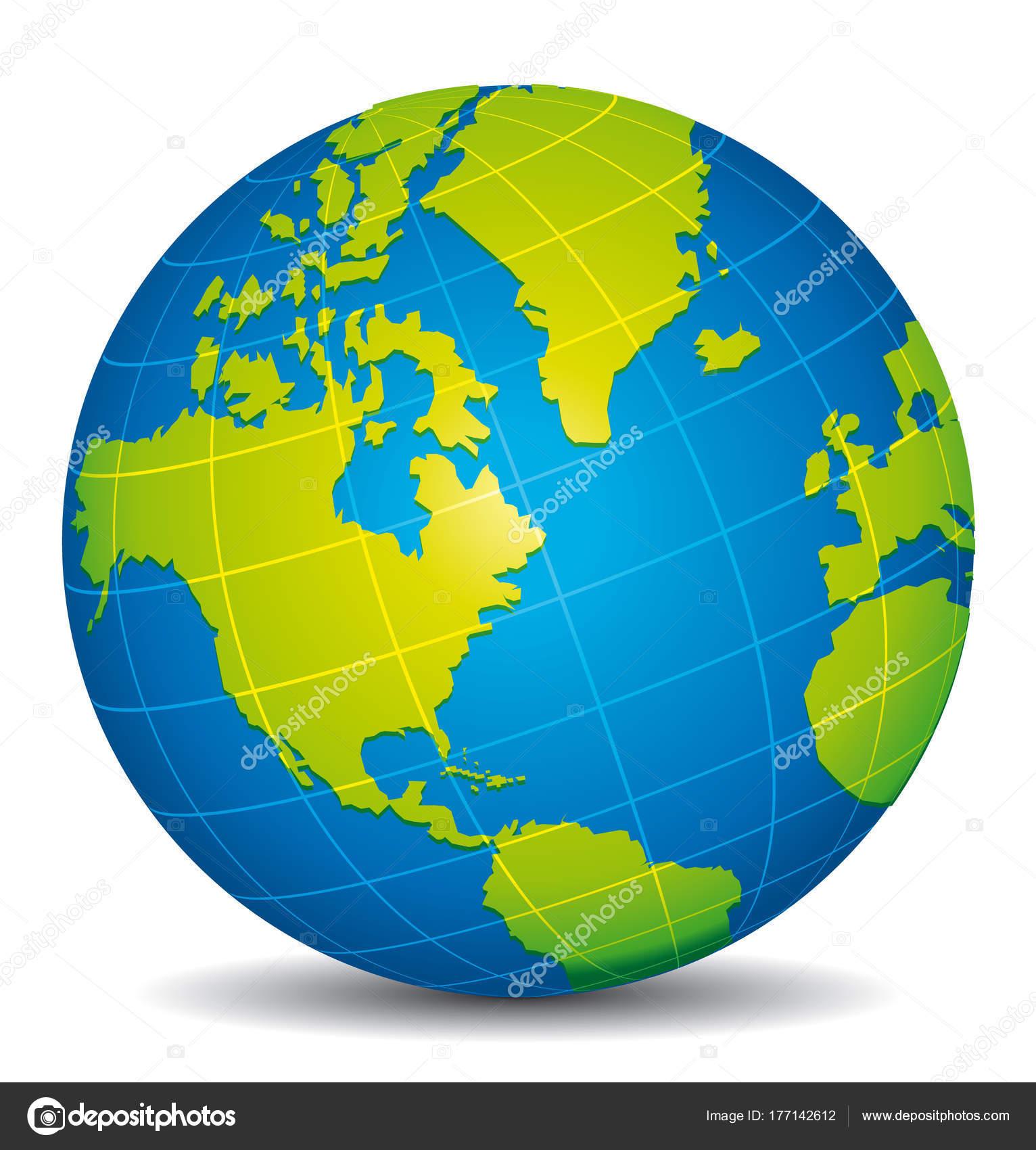 Beautiful Blue Green Globe America Canada Alaska Atlantic View ...