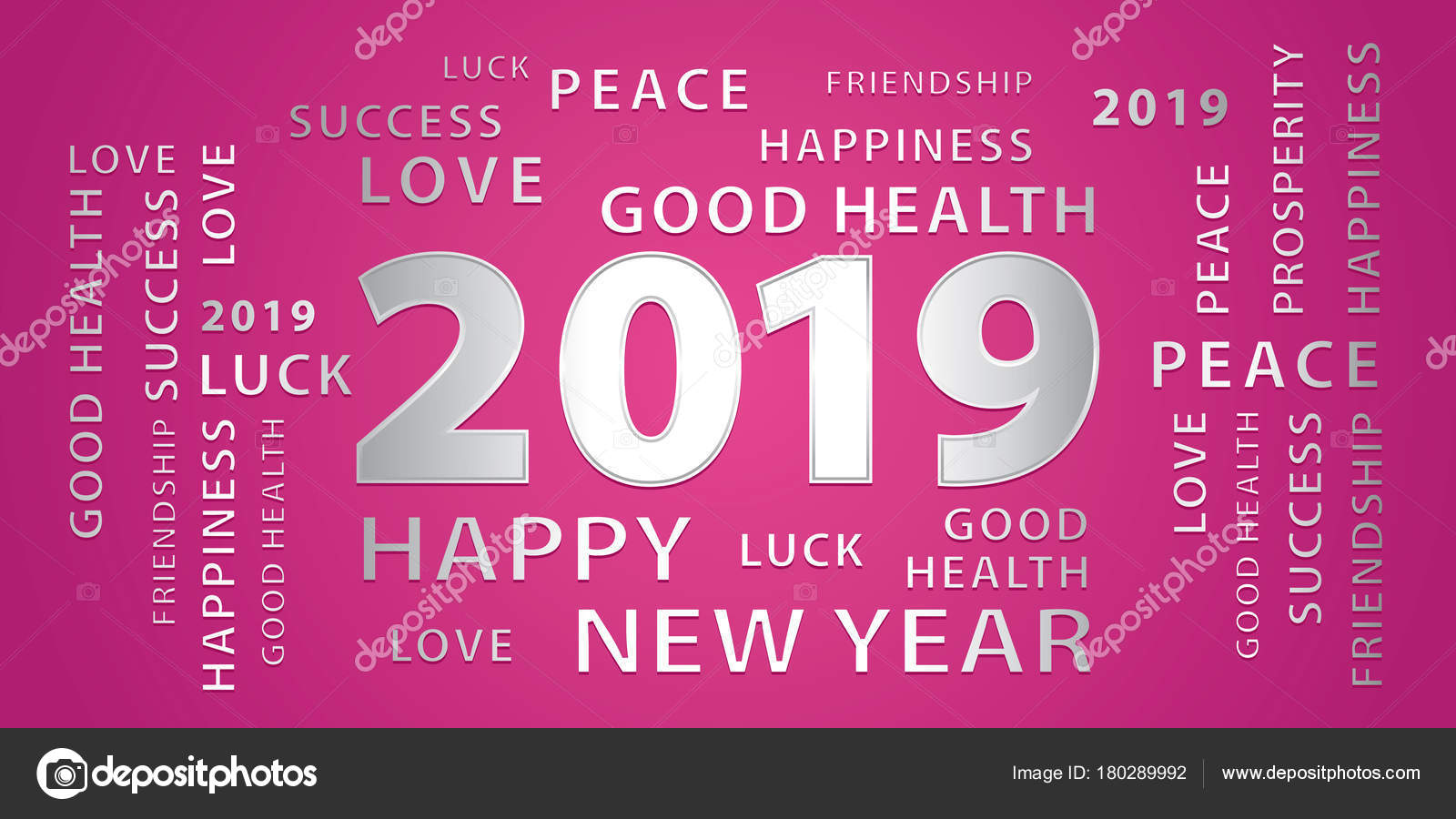 2019 happy new year greetings vector banner pink silver stock vector